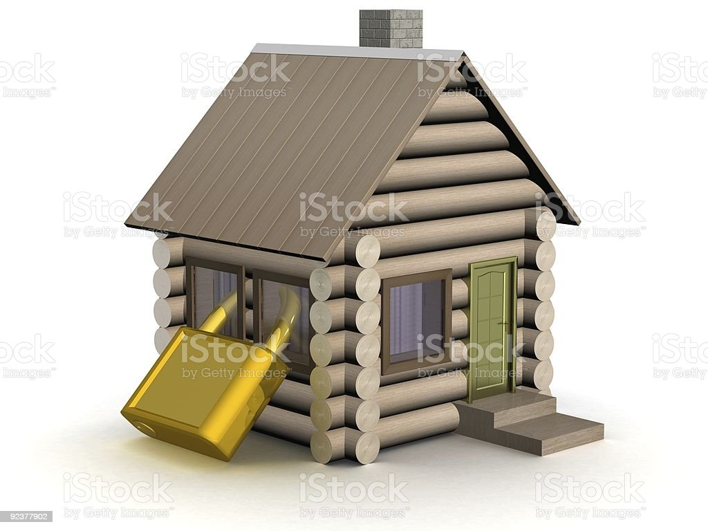 Wooden small house. The safety concept. 3D image. royalty-free stock photo