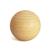 Wooden sphere 3d rendering, spherical shape made of wood isolated on white background isolated illustration