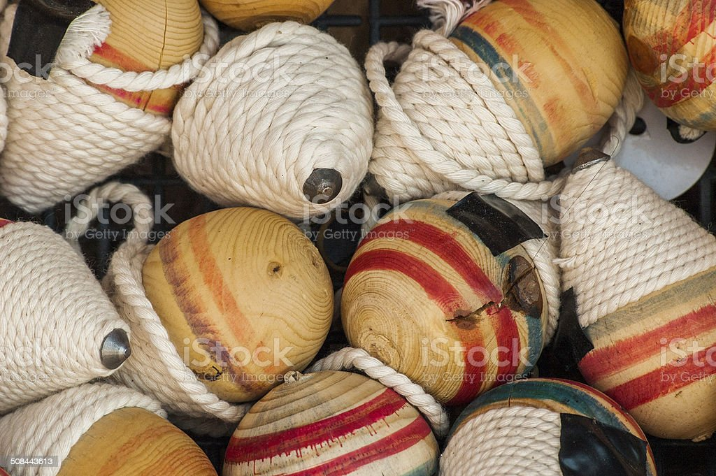 Wooden Spinners stock photo