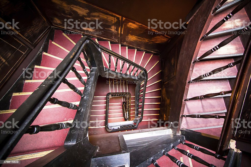 Wooden spiral staircase stock photo