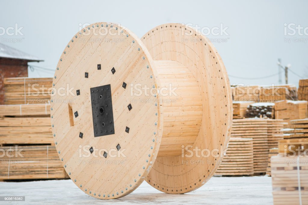 Wooden spool for cable stock photo