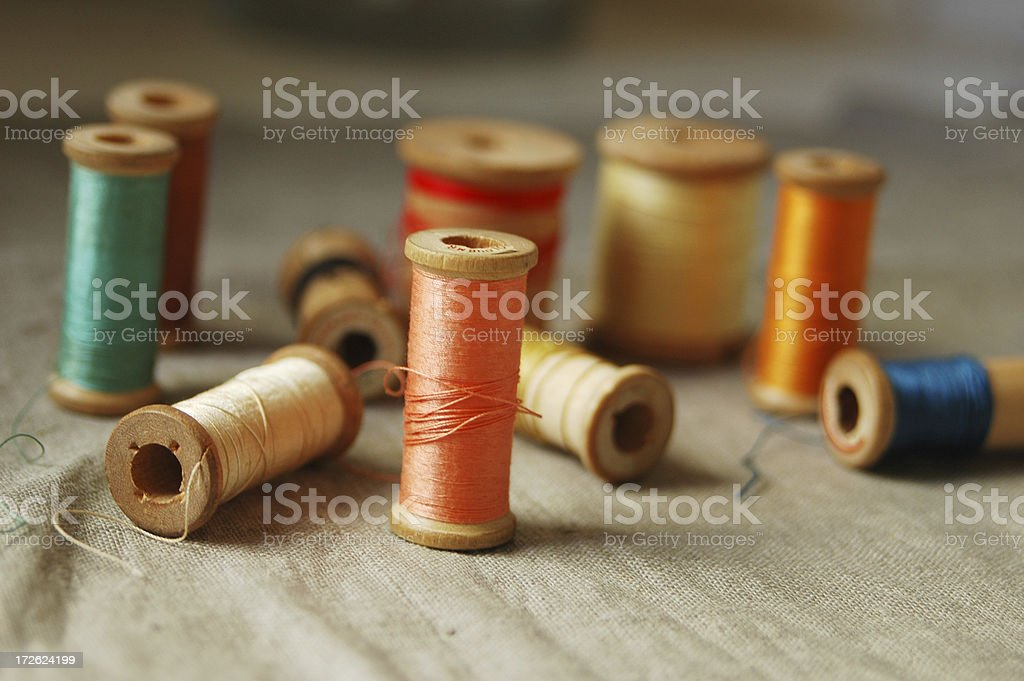 wooden spools royalty-free stock photo