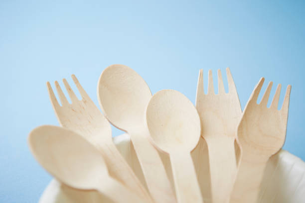 Wooden spoon and fork stock photo