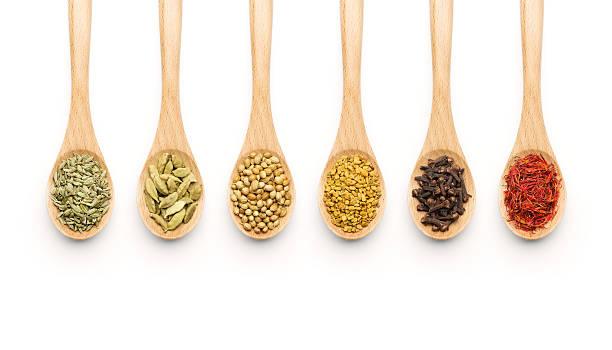 wooden spoon filled with various spices - saffron on white bildbanksfoton och bilder