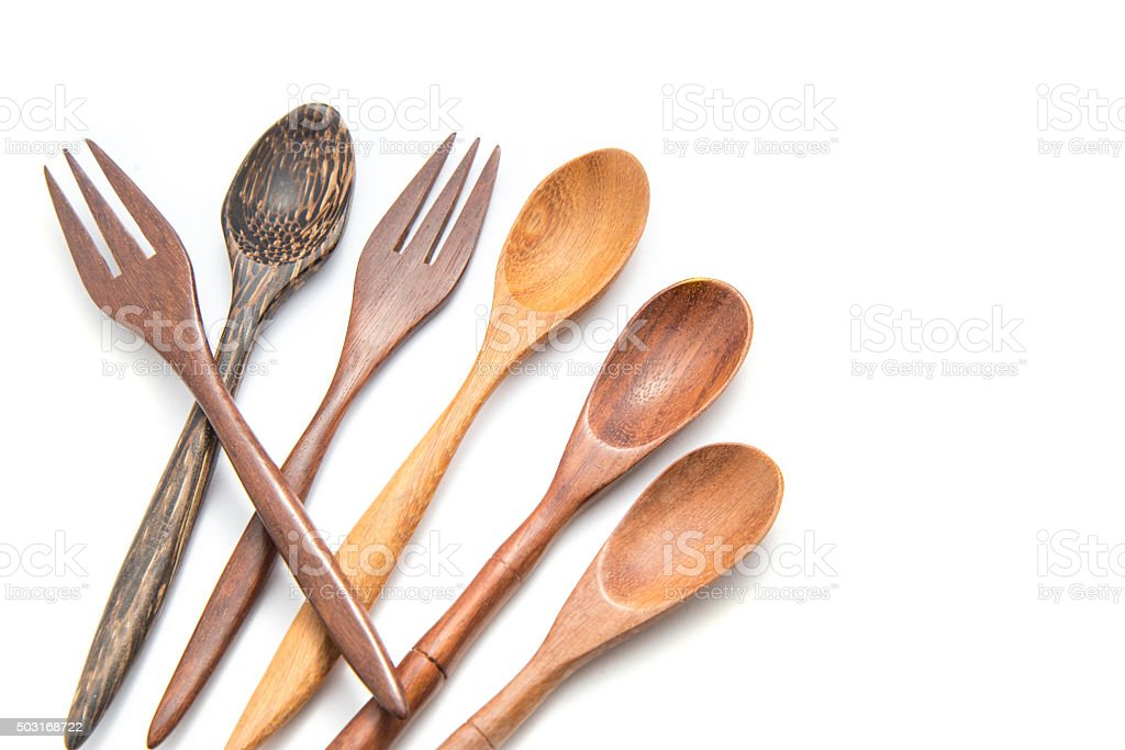 Wooden Spoon isolated on white background stock photo