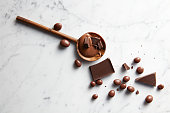 wooden spoon with chocolate