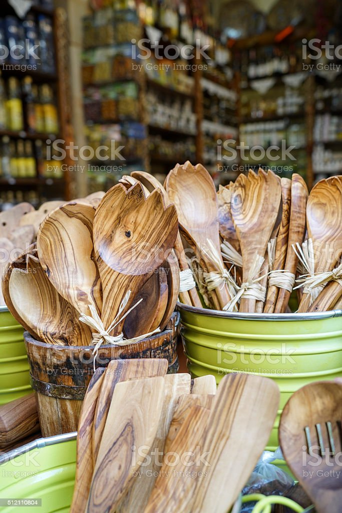 wooden spoons and forks that are traditional kitchenware stock photo
