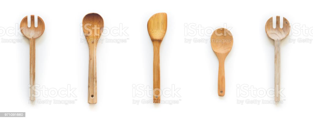Wooden spoons and ladles stock photo