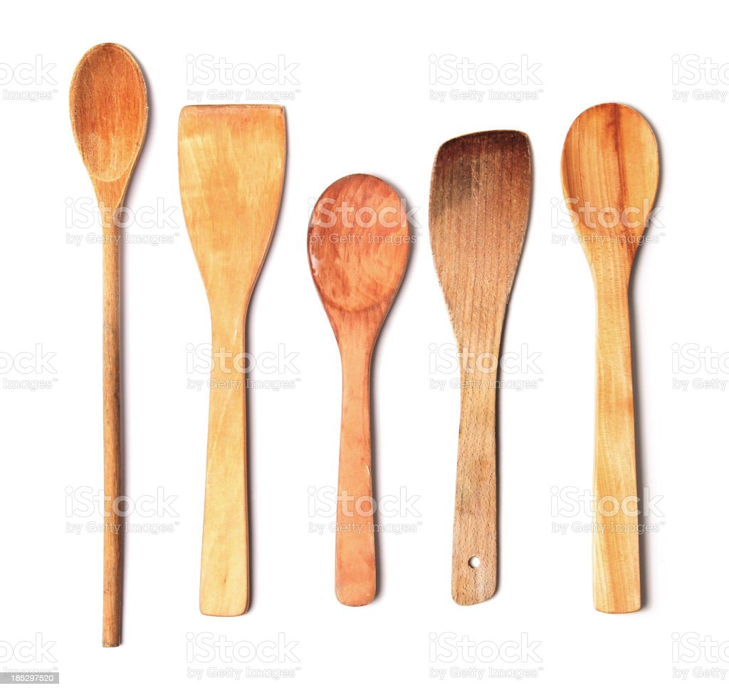 Wooden Spoons on White royalty-free stock photo