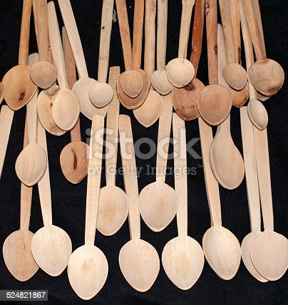 Wooden Spoons on black