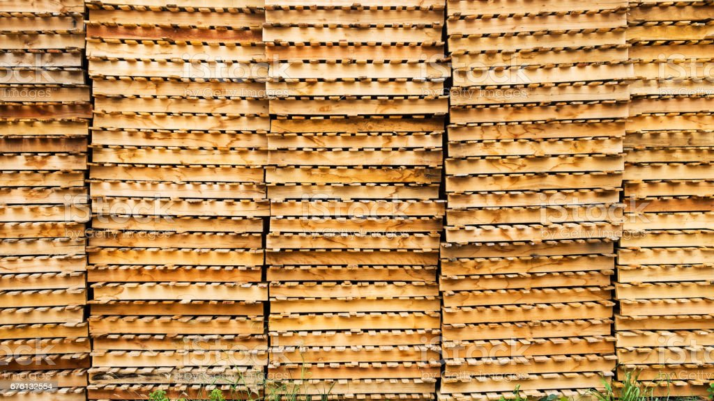 Wooden Stacked Wooden Pallets Textured And Background Stock Photo