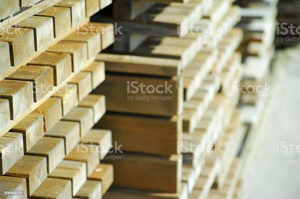 Wooden Stacks At Warehouse stock photo