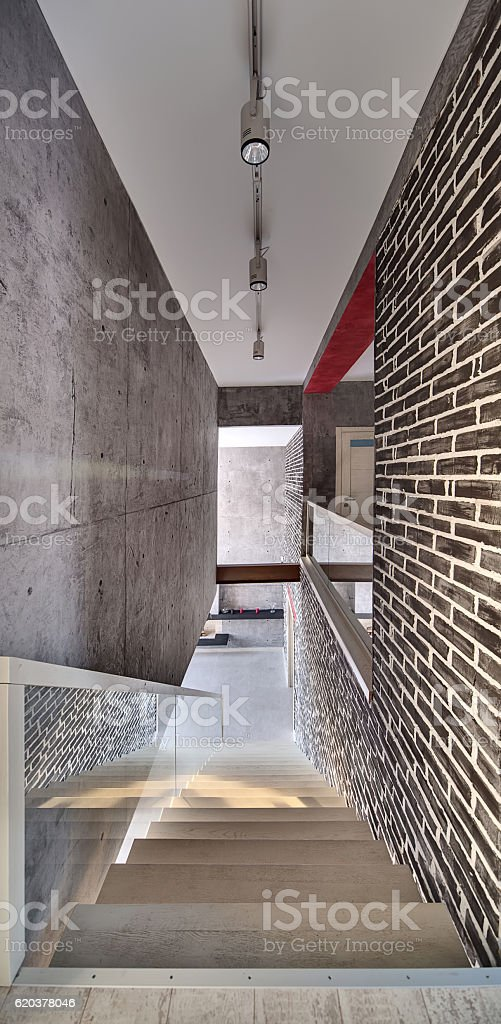 Wooden stair to first floor zbiór zdjęć royalty-free