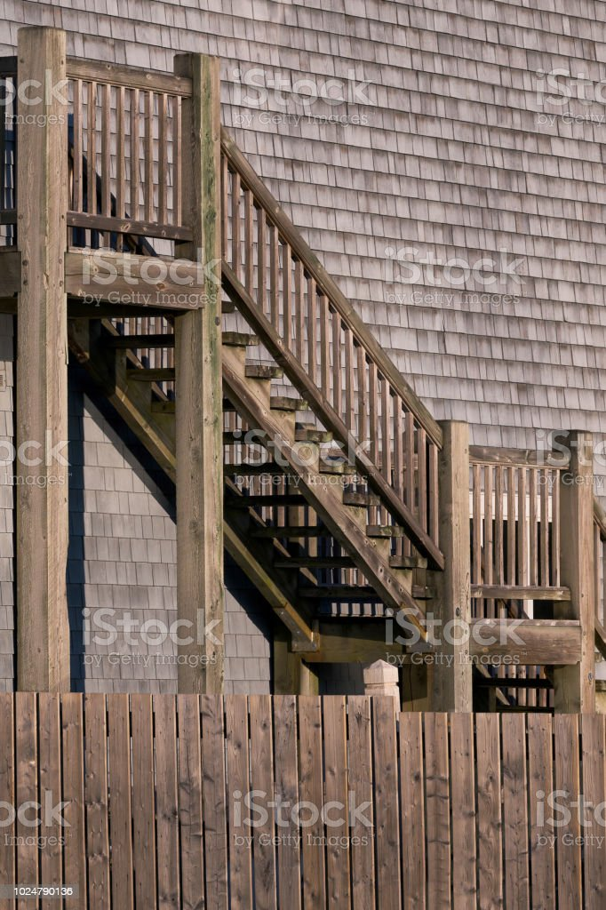Wooden stairs outside the Hector Heritage Quay in Pictou, Nova Scotia