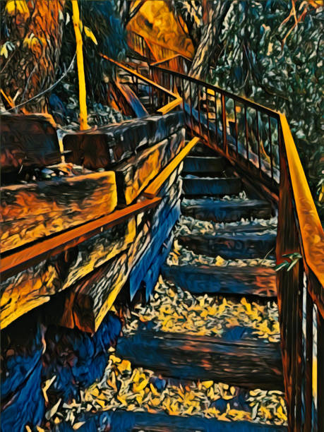 Wooden staircase in Forest stock photo