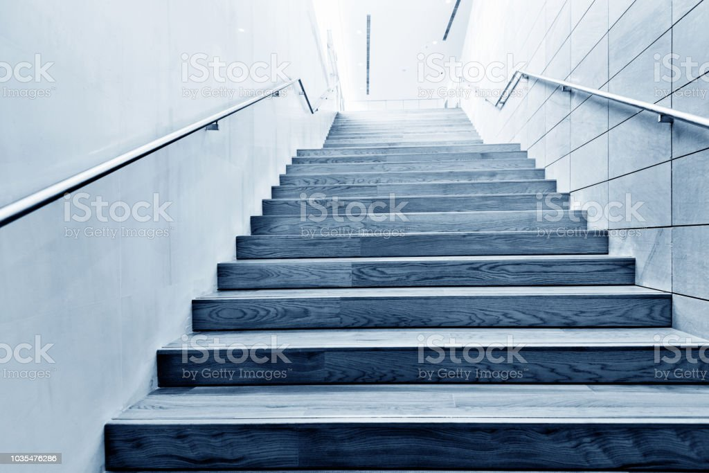 Wooden staircase in public building stock photo