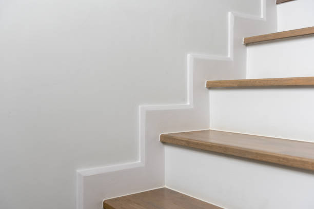 wooden staircase interior decoration stock photo
