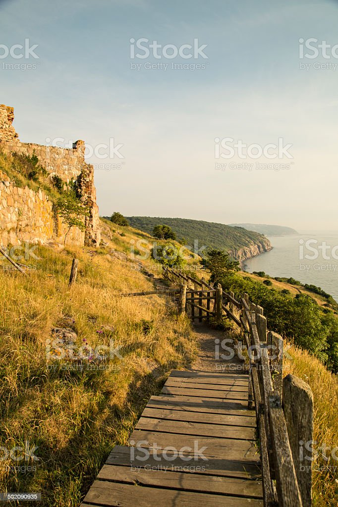 Wooden Stairs at Hammershuus ruin, Bornholm, Denmark royalty-free stock photo