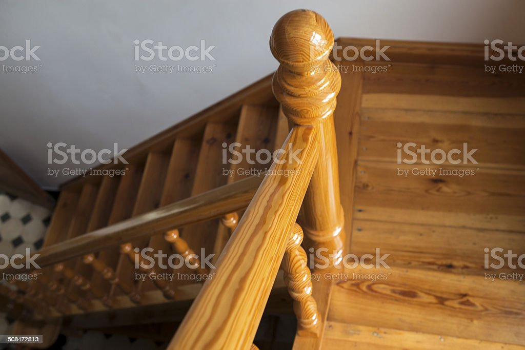 Wooden stairs in old house stock photo