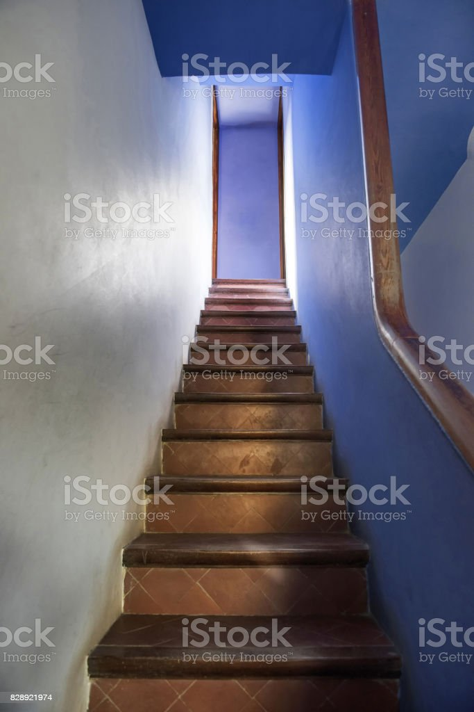 Wooden Stairs in Park Guell, Barcelona, Spain stock photo