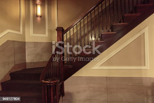 A wooden stairway in an old house.