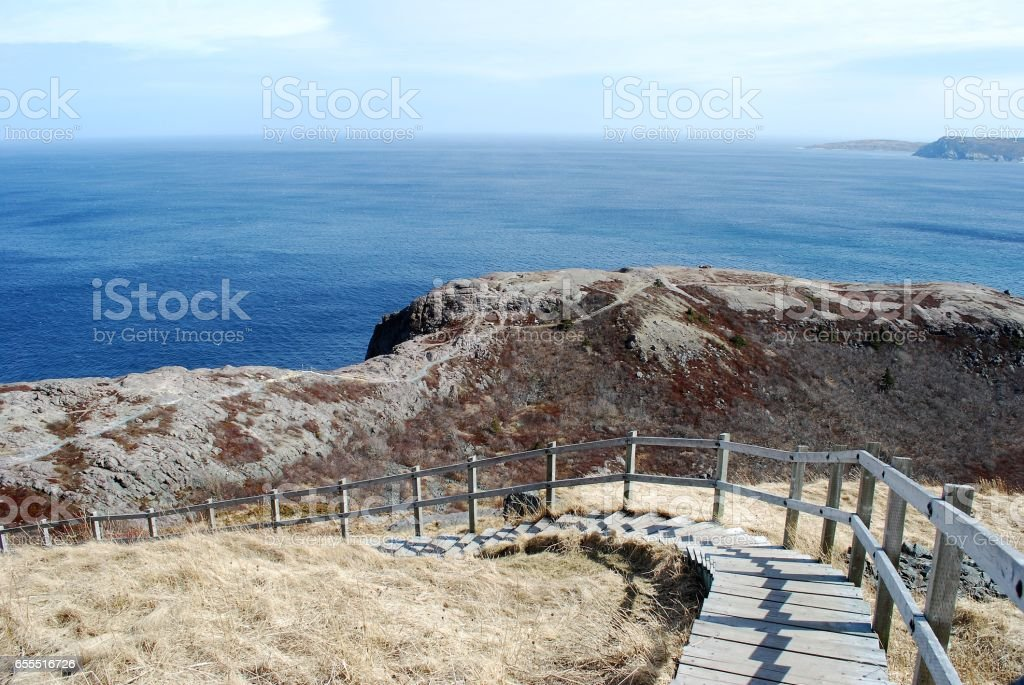Wooden stairway Signal Hill, St. John's, Newfoundland and Labrador stock photo