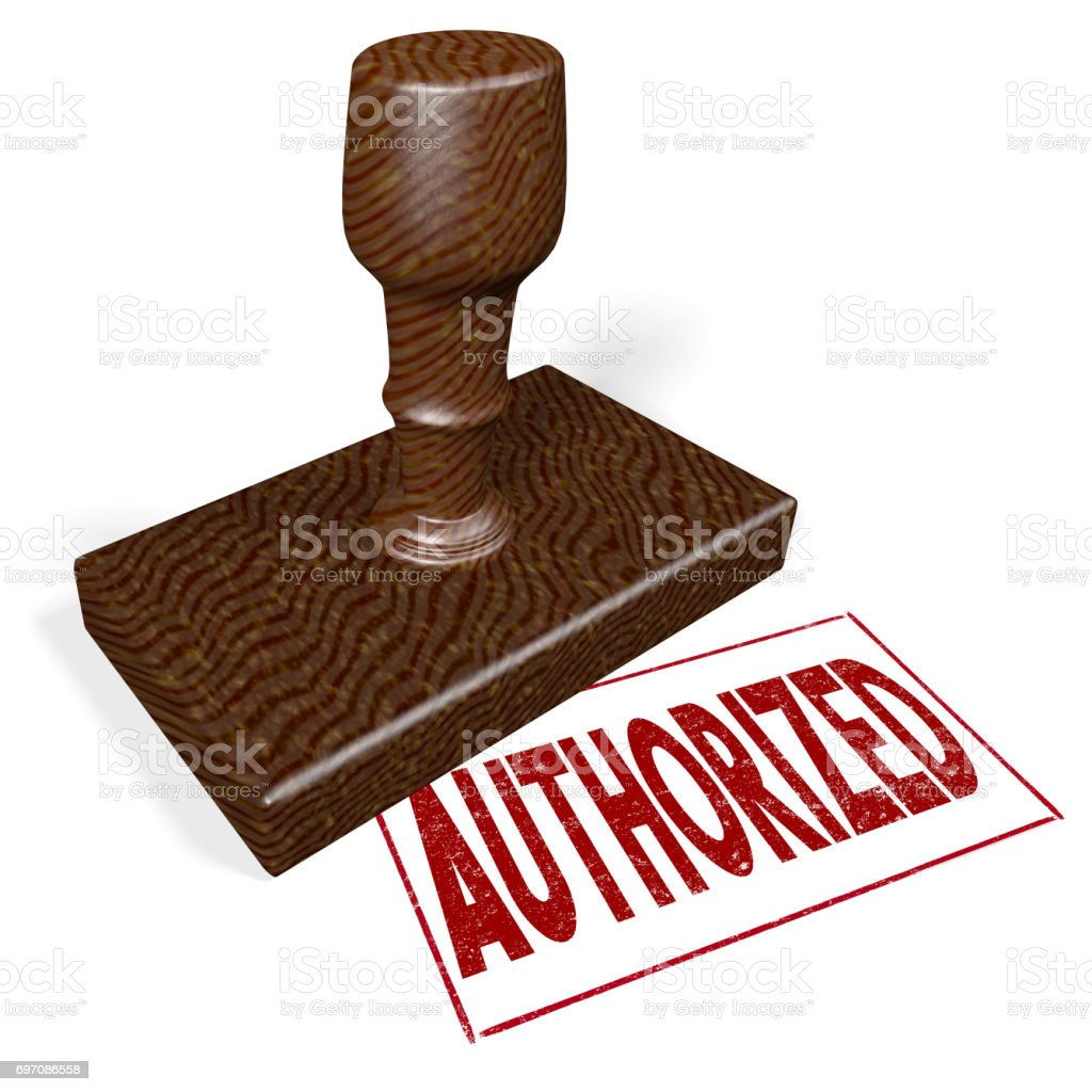3D wooden stamp - authorized stock photo