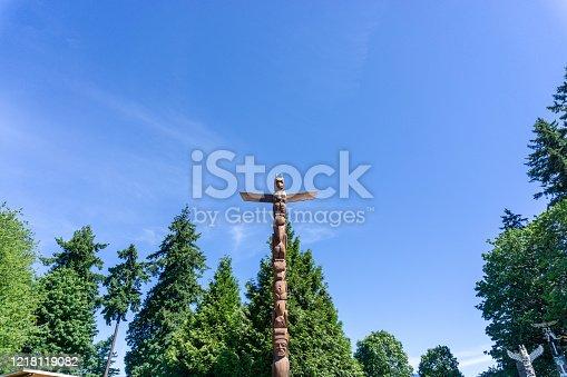 Wooden statue in Stanley Park