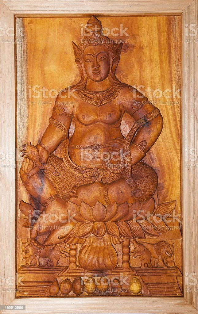 Wooden Statue of lord krishna royalty-free stock photo