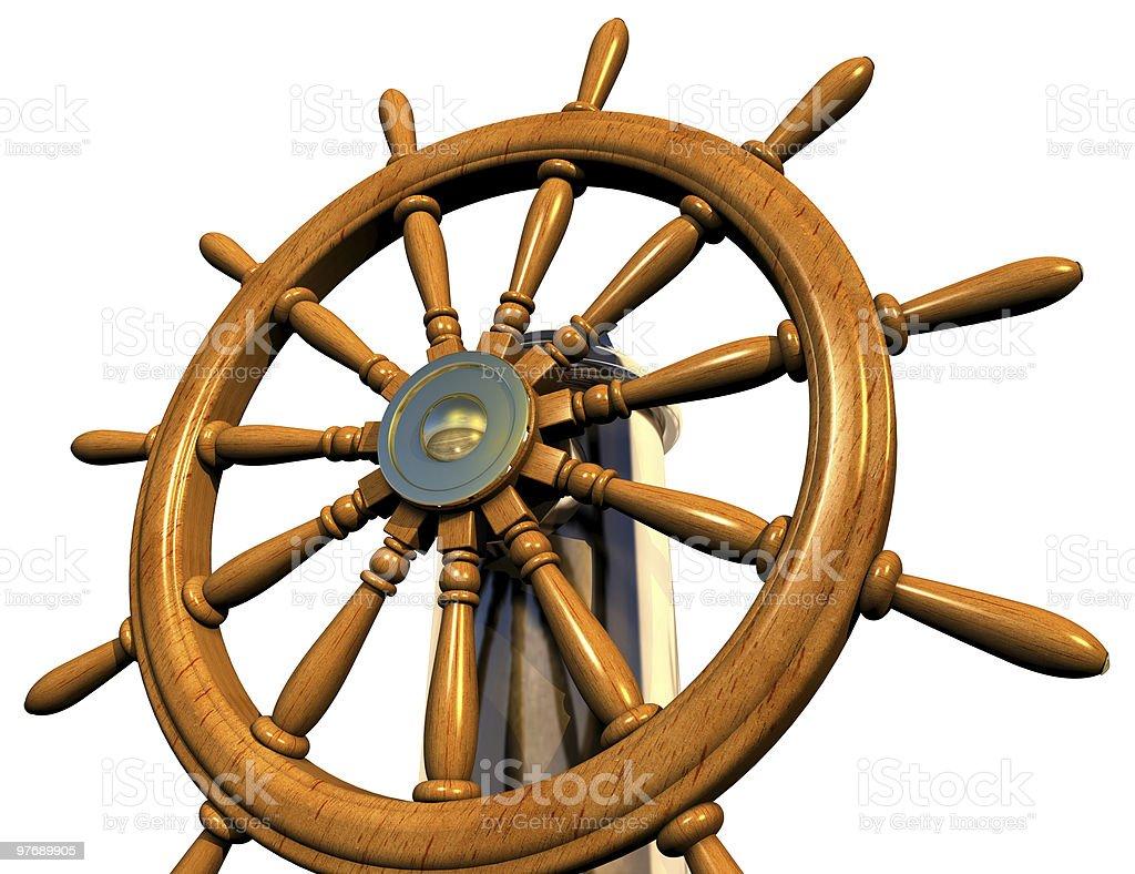 Wooden steering wheel stock photo