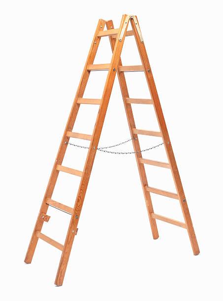 hölzerne stufenleiter - hajohoos stock-fotos und bilder