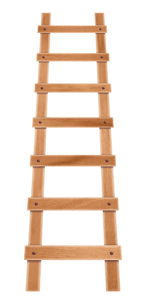 Wooden step ladder isolated on the white background