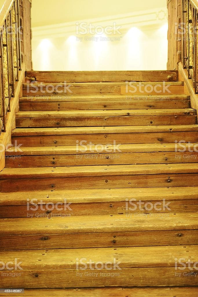 Wooden steps to light royalty-free stock photo