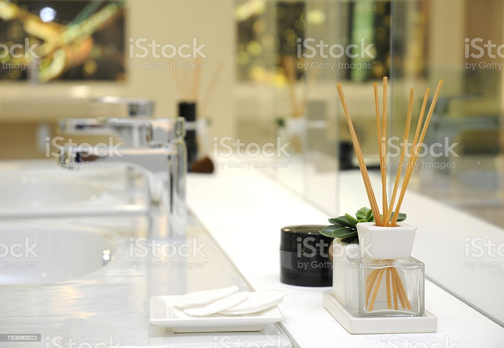 wooden sticks perfume diffuser stock photo