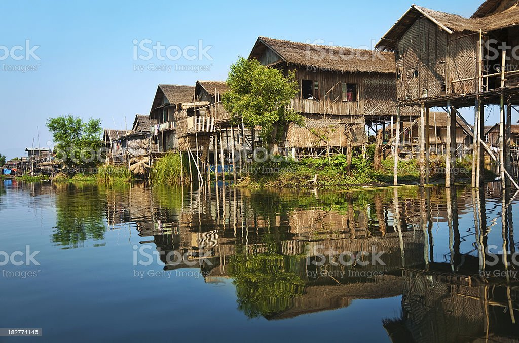 Wooden stilt houses in Asia royalty-free stock photo