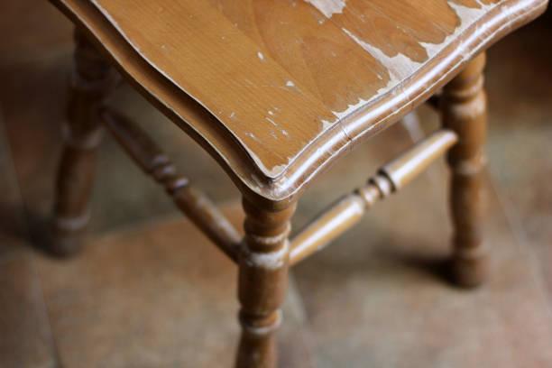 Wooden stool. Brown stool stock photo