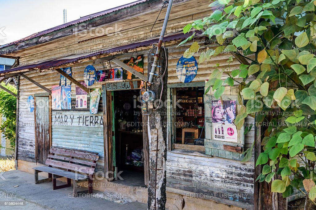 Wooden storefront, Livingston, Guatemala stock photo