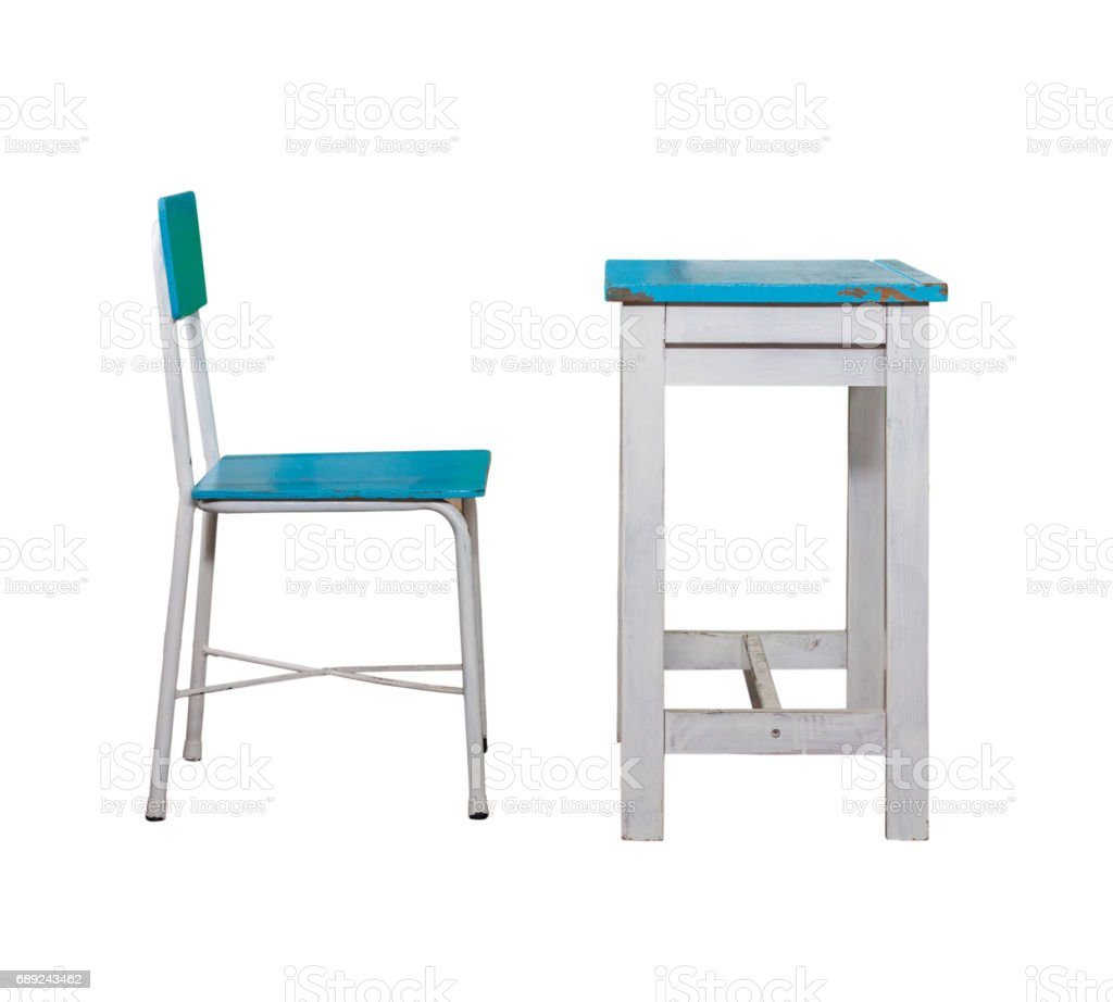 Wooden Student Desk And Chair On White Background Stock Photo - Download  Image Now