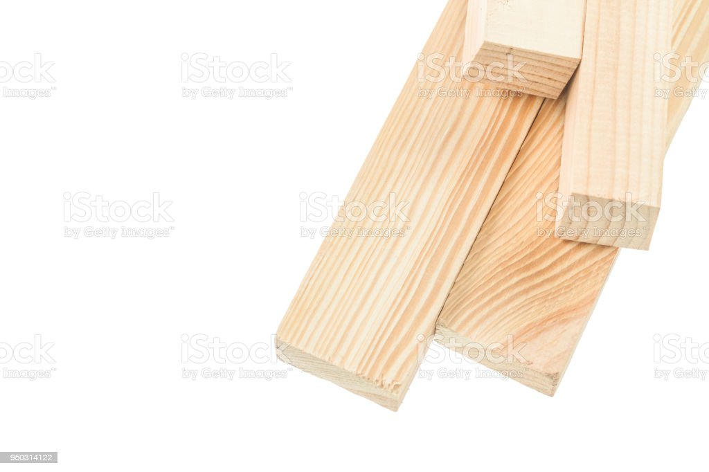 Wooden studs isolated on white stock photo
