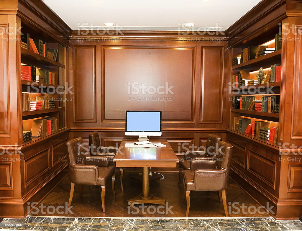A wooden study with a computer royalty-free stock photo