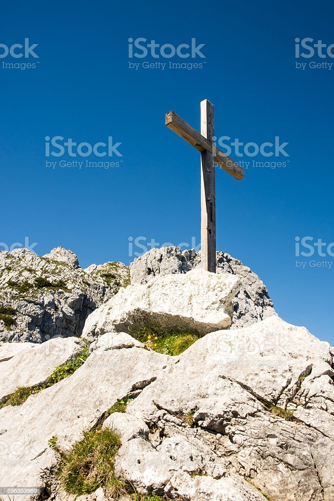 Wooden summit cross in the alps royalty-free stock photo