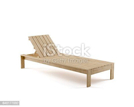 Digitally generated wooden sunbed isolated on white background.