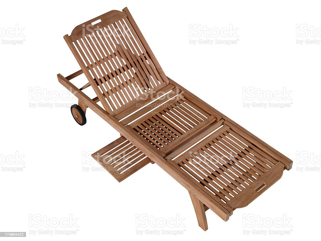 Wooden Sunbed On White Background royalty-free stock photo
