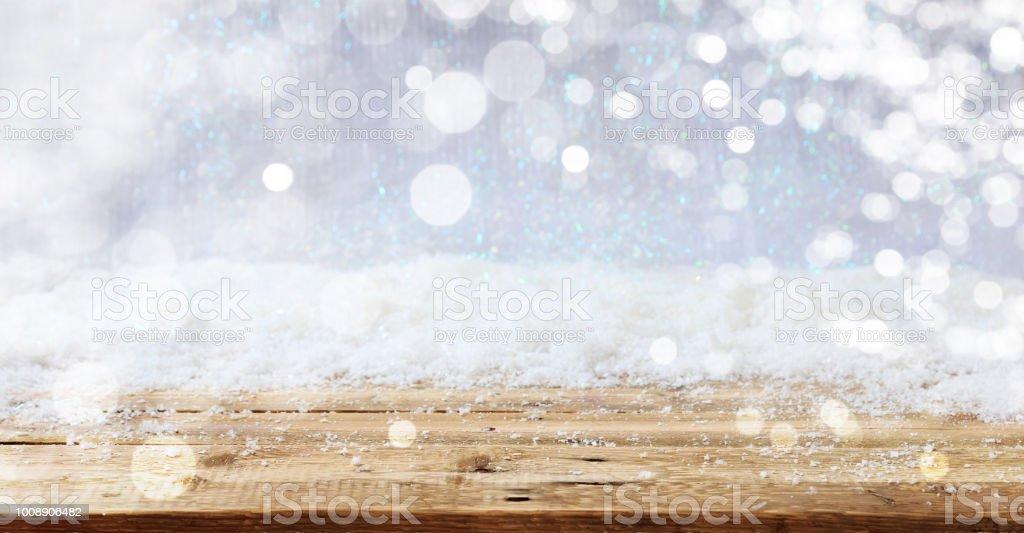 Holzoberfläche verschneite Weihnachten Hintergrund – Foto