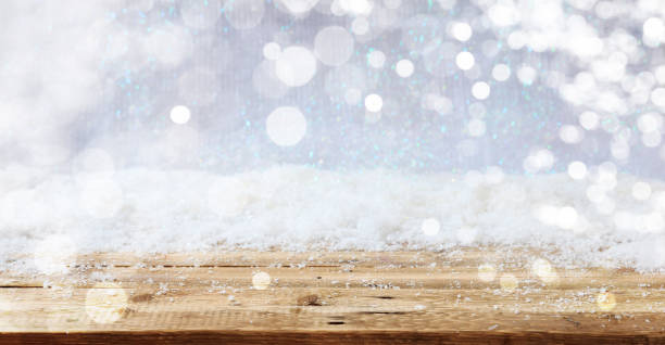 wooden surface christmas snowy background - snow stock pictures, royalty-free photos & images