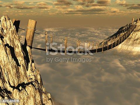 istock Wooden suspension bridge 493185928
