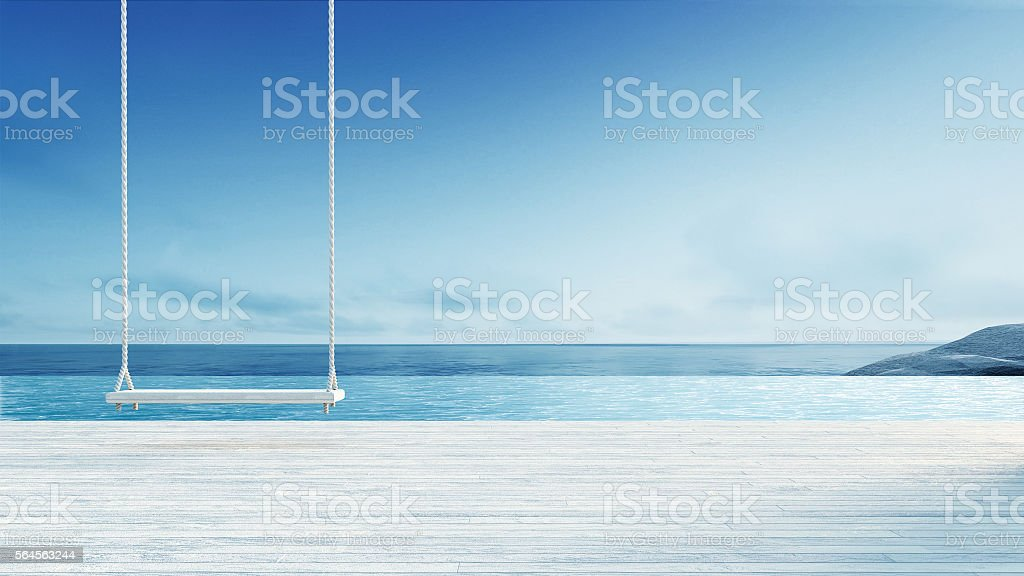 Wooden Swing & Hang Chair - Beach lounge stock photo