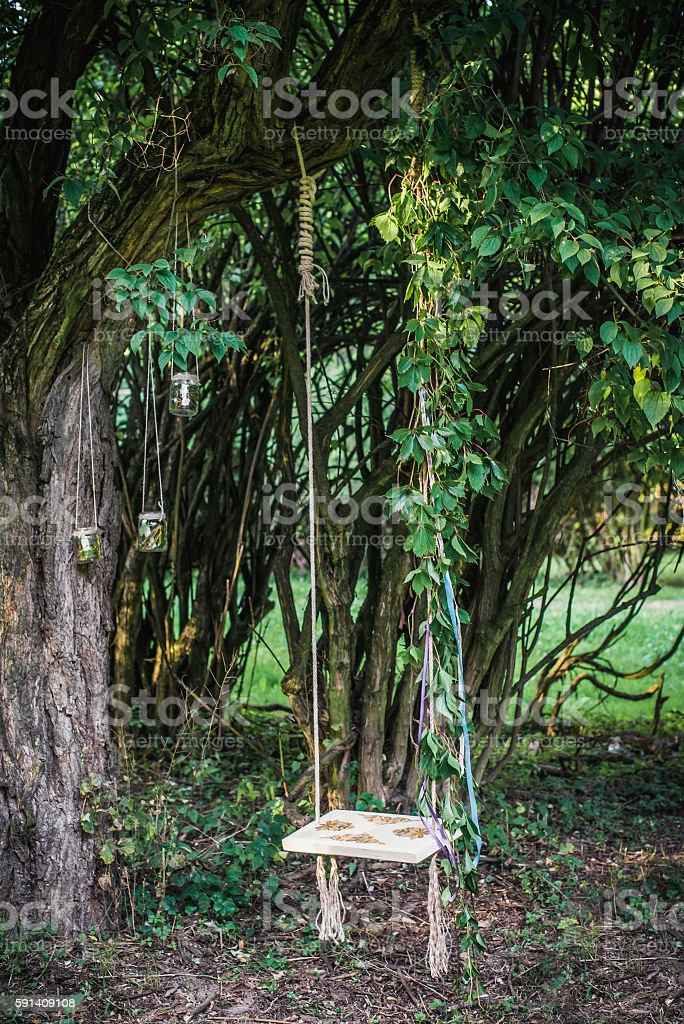 Wooden swing hanging from tree stock photo