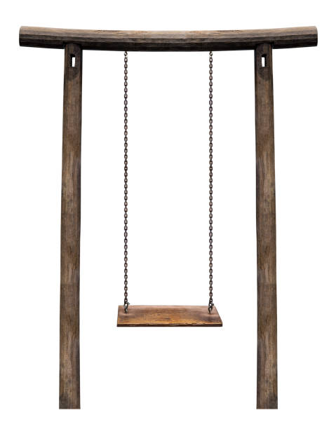wooden swing on pillar isolated - chain object stock photos and pictures