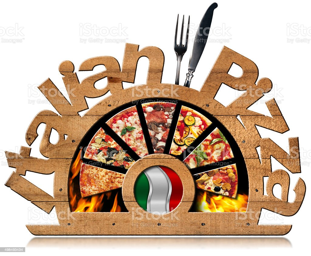 Wooden Symbol of Italian Pizza with Flames stock photo